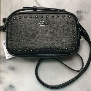 Coach Crossbody Pouch Black Lacquer Rivets NWT